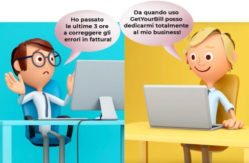 Sia Pino che Gino gestiscono un ecommerce. Pino ha passato le ultime 3 ore a correggere gli errori in fattura, mentre Gino, che usa GetYourBill, si è potuto dedicare a questioni più importanti.
