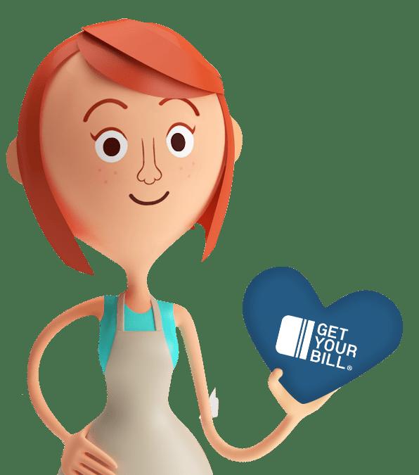 Lina regge un cuore blu con il logo GetYourBill