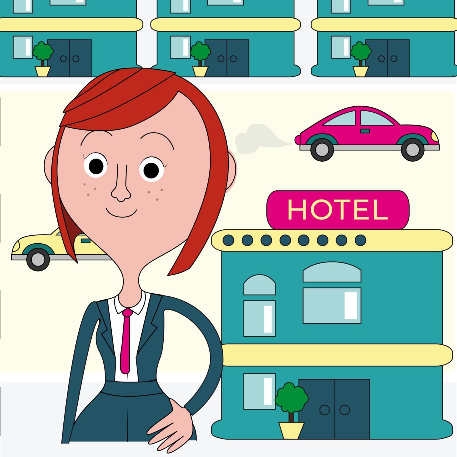 Lina si trova davanti all'albergo che gestisce
