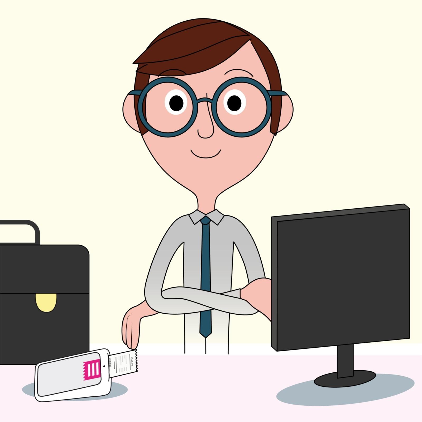 Pino medico seduto alla scrivania con sopra pc, valigetta e POS
