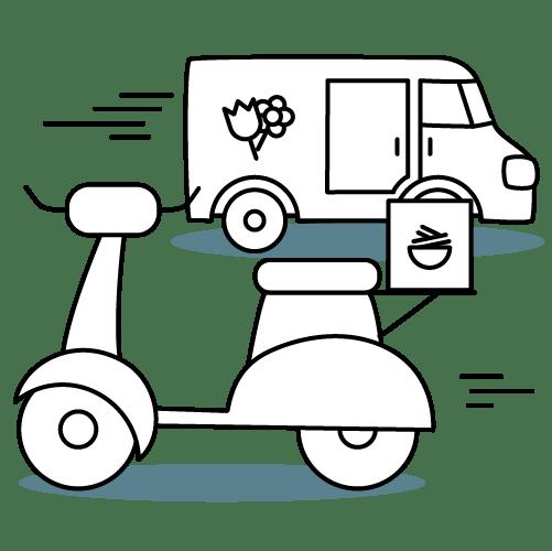 Furgone e scooter per le consegne a domicilio