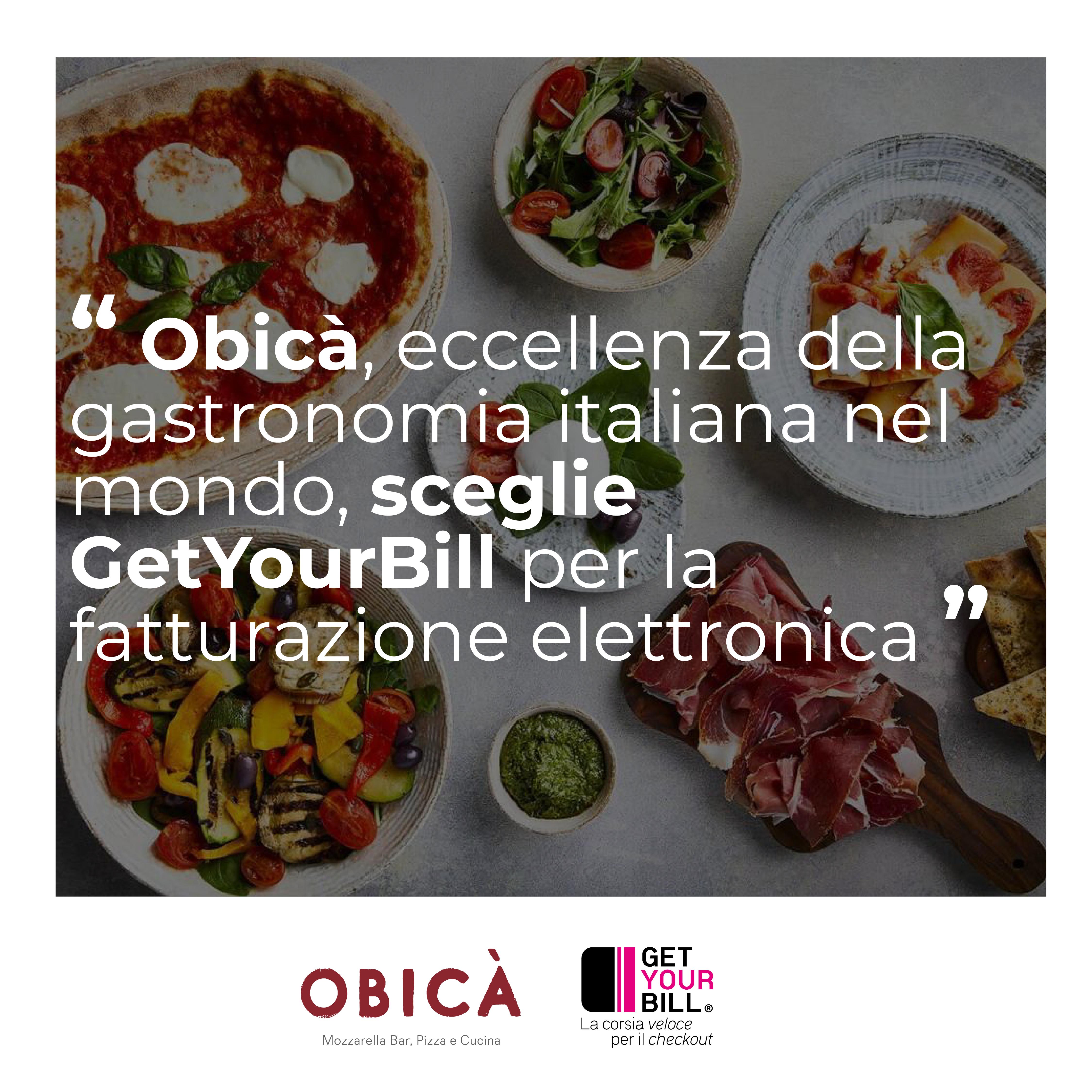 Post di Instagram sulla collaborazione tra Obicà e GetYourBill