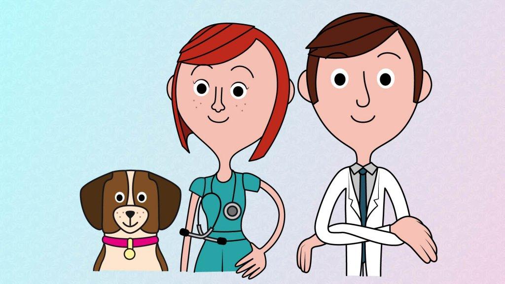 Medico e veterinaria con cagnolino