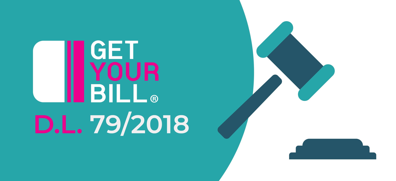 Logo GetYourBill e immagine del martello del giudice