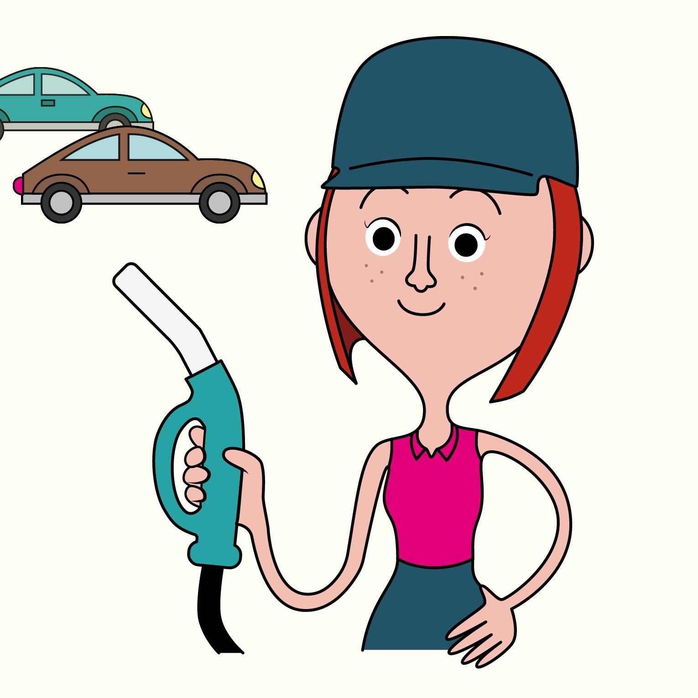 Lina tiene in mano una pompa di benzina